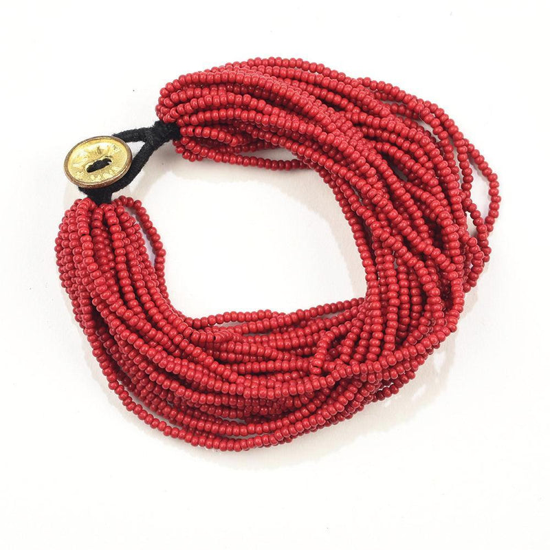 Sead Bead Multi Layer Bracelet, Red