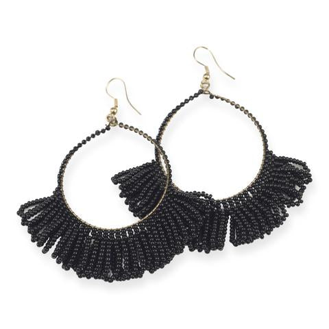 Black Fringe Hoop Seed Bead Earrings