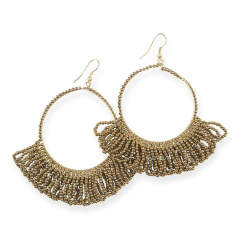 Gold Fringe Hoop Seed Bead Earrings