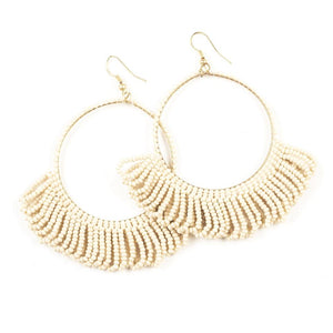 Seed Bead Earring Hoop with Fringe, Ivory