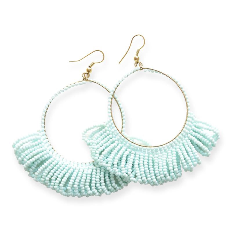 Seed Bead Earring Hoop with Fringe, Light Blue
