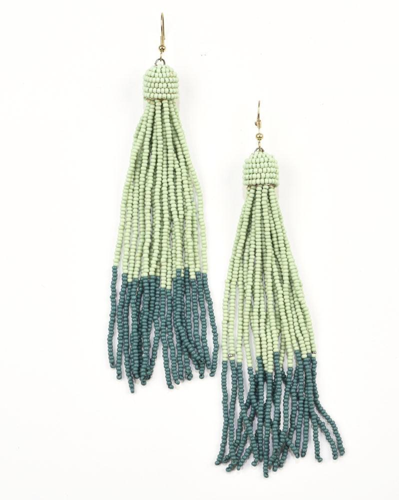 Seed Bead Earring Tassel, Mint & Teal