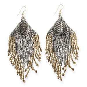 Gunmetal and Gold Fringe Earrings
