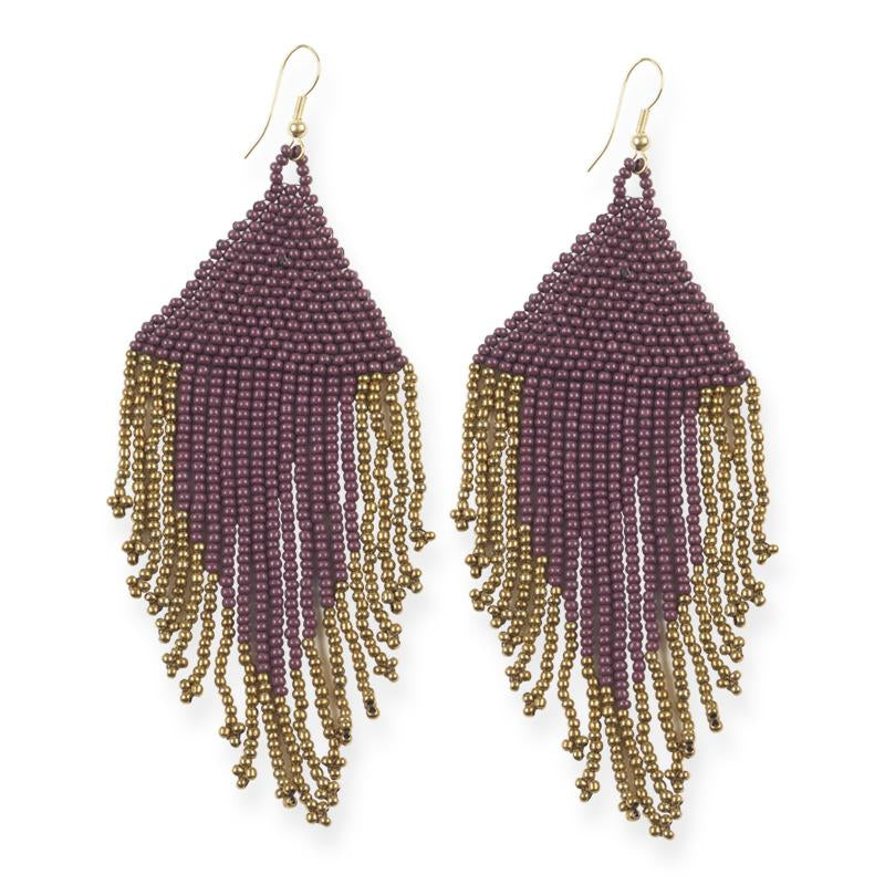 Port and Gold Fringe Earrings