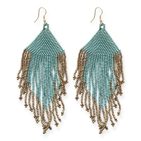 Teal and Gold Fringe Earrings