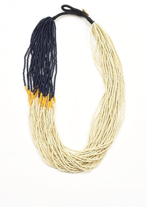 Ivory, Mustard & Navy Seed Bead Color Block Necklace