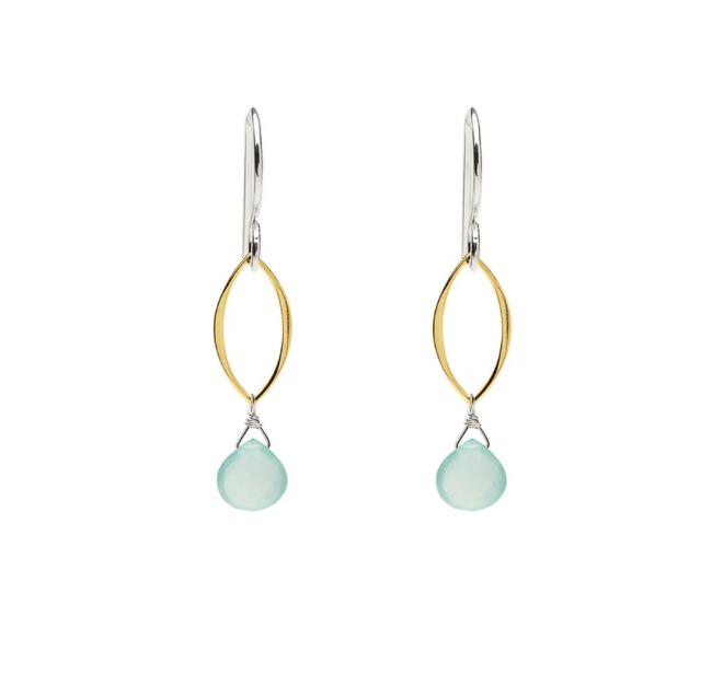 Ella Mini Leaf Two Tone Aqua Chalcedony Earrings