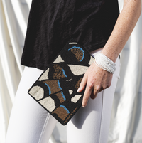 Black, White, Gold, Lapis Butterfly Beaded Clutch