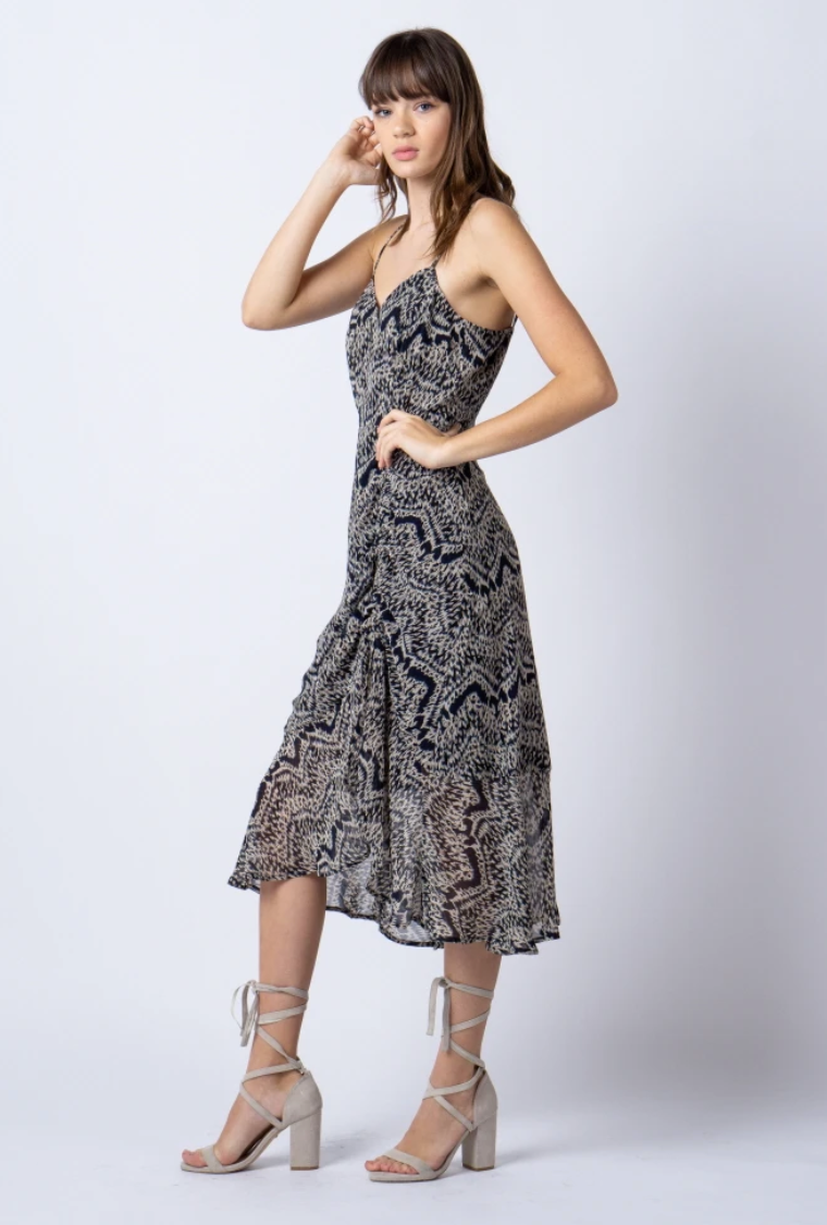 Taupe/Navy Printed Flowy Dress
