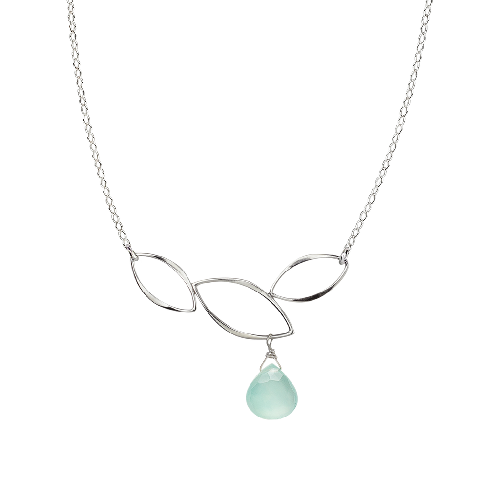Ella Three Leaf Curve Necklace with Aqua Chalcedony
