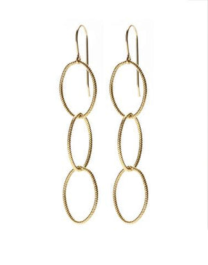 Triple Twisted Gold Earrings