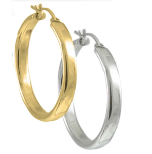 Flat Tube Gold Hoop Earrings