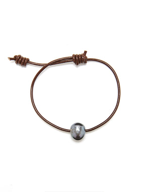 Victoria Single Pearl Bracelet - Chocolate / Grey