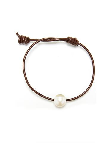 Victoria Single Pearl Bracelet - Chocolate / White