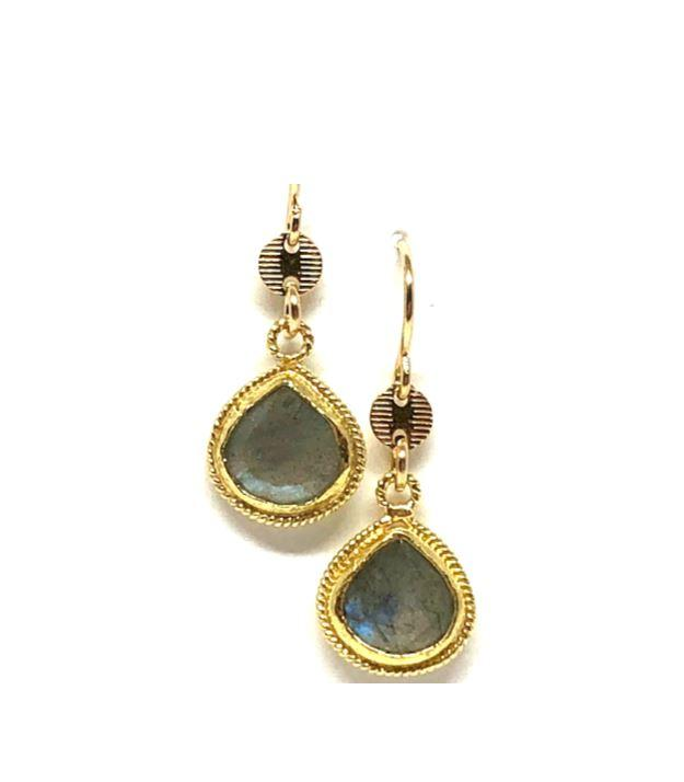 Bezel Stone Labradorite Gold Earrings