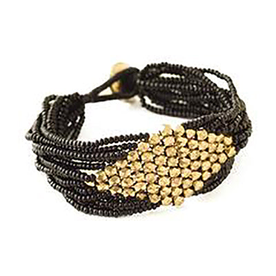 Black With Gold Diamond Seed Bead Bracelet