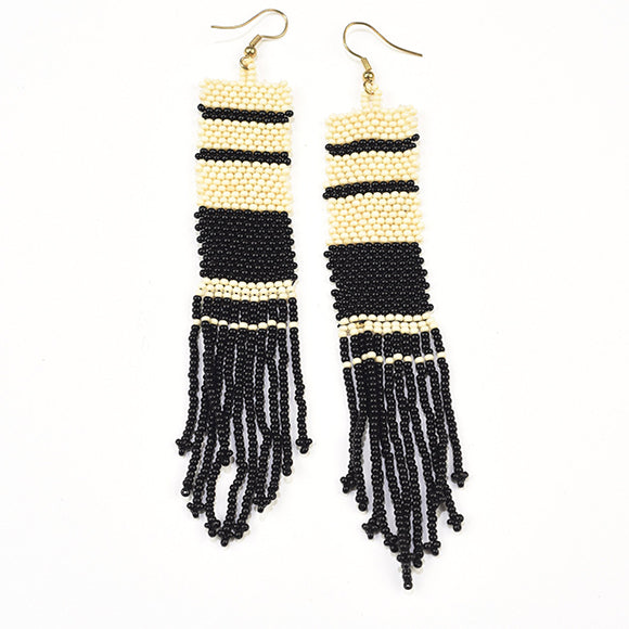 Black and White Stripe Seed Bead Fringe Earrings