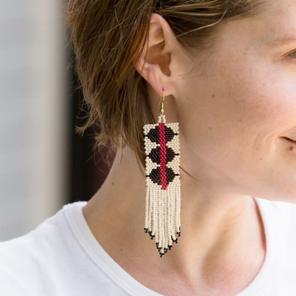Black and White with Red Stripe Triangle Seed Bead Earrings