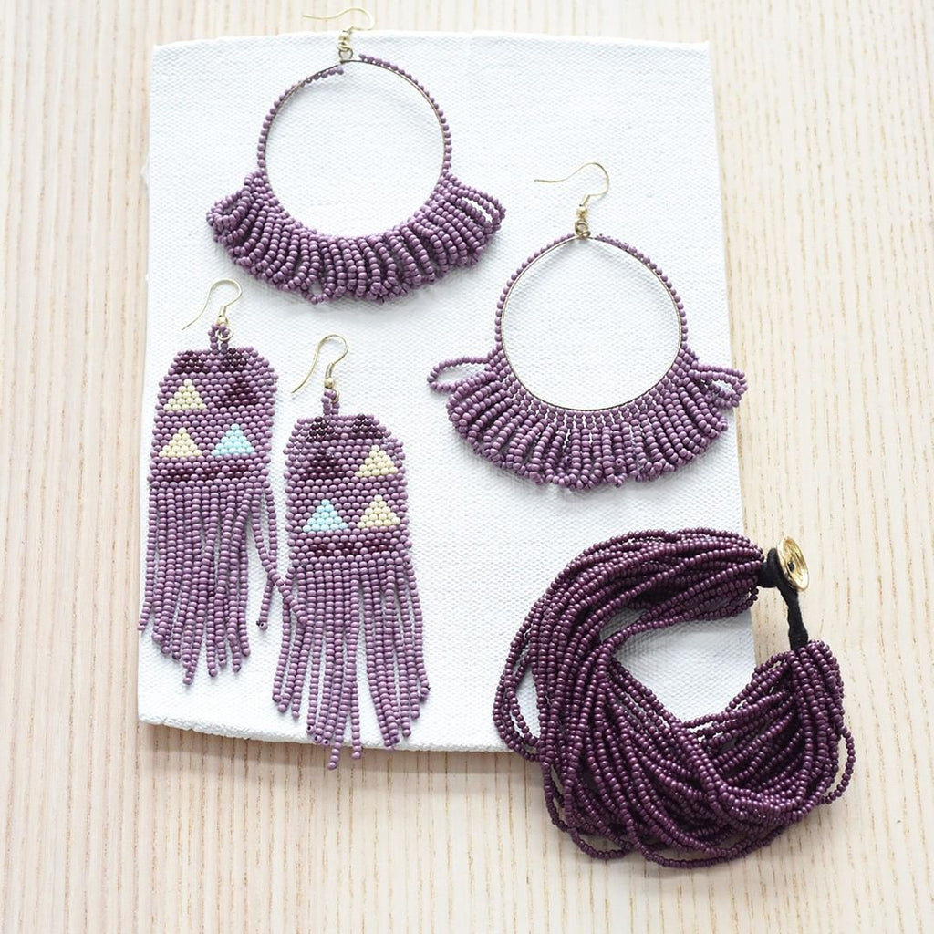 Seed Bead Earring Hoop with Fringe, Lilac