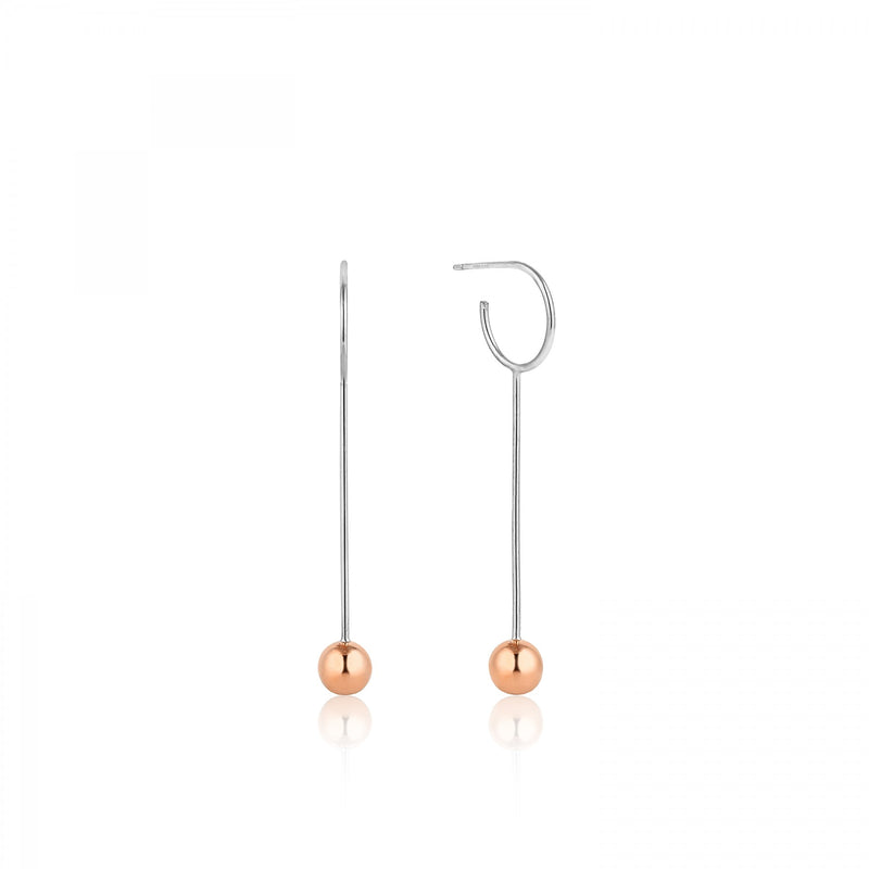 Orbit Solid Drop Earrings - Rose Gold