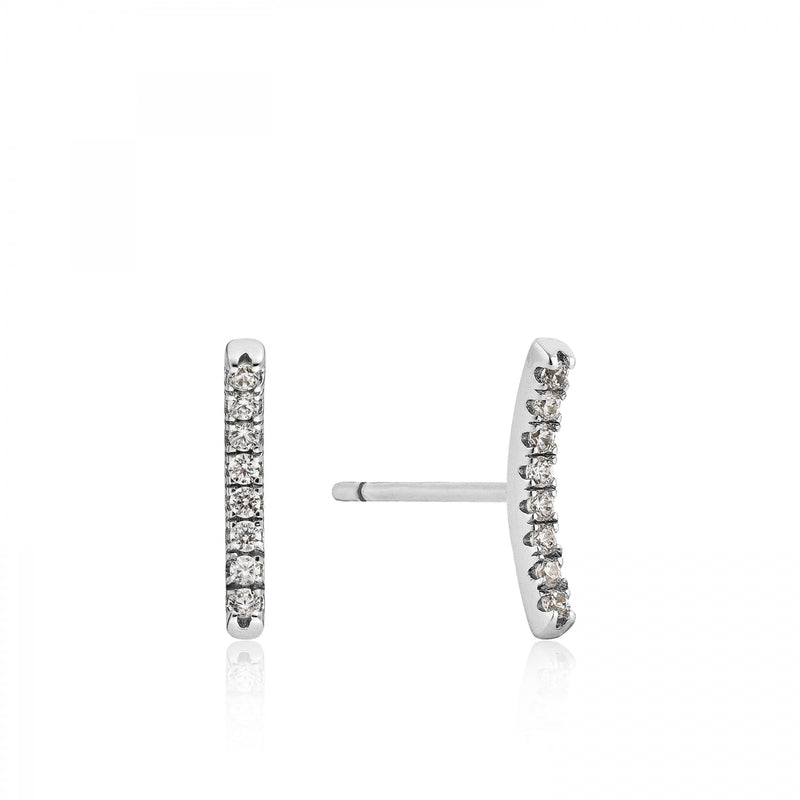 Shimmer Pavé Stud Earrings - Silver