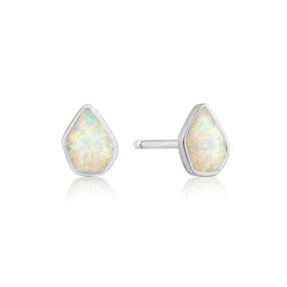 Opal Color Silver Stud Earrings