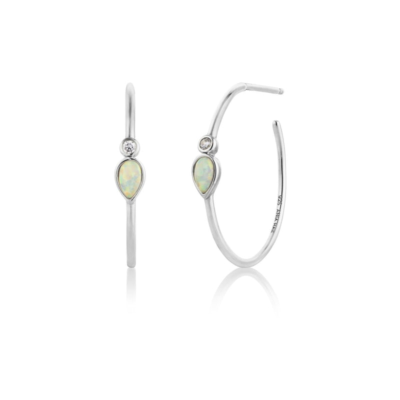 Silver Opal Color Raindrop Hoop Earrings