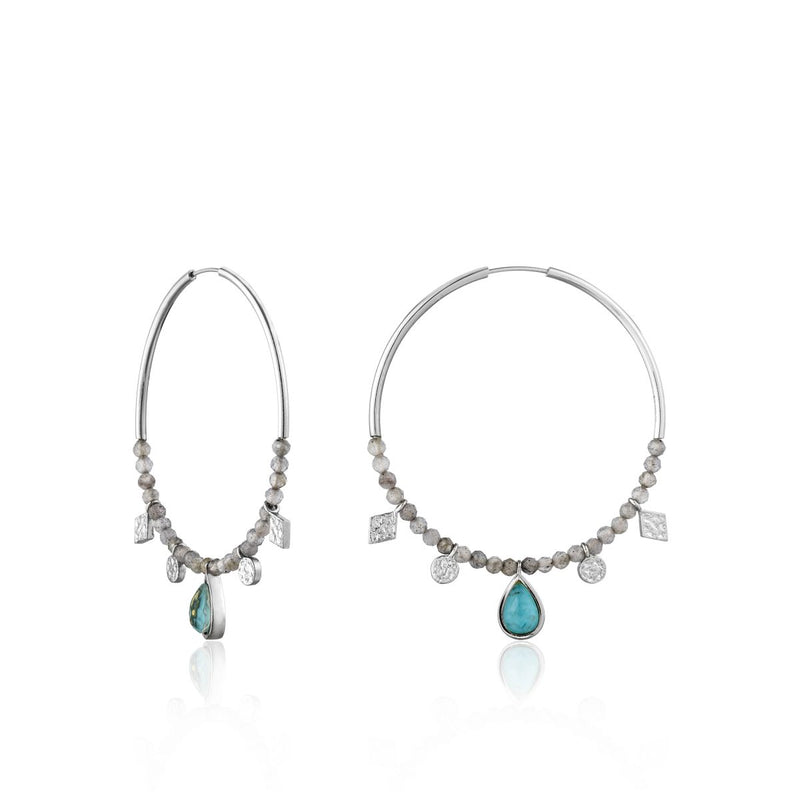 Turquoise Labradorite Silver Hoop Earrings