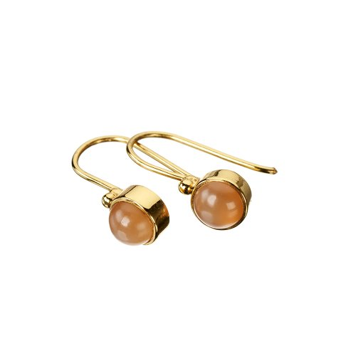 Tahiti Peach Moonstone Gold Earrings
