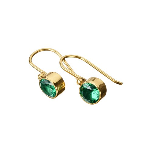 Tahiti Green Zircon Gold Earrings