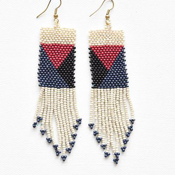 Ivory, Red, Navy & Black Geo Seed Bead Fringe Earrings