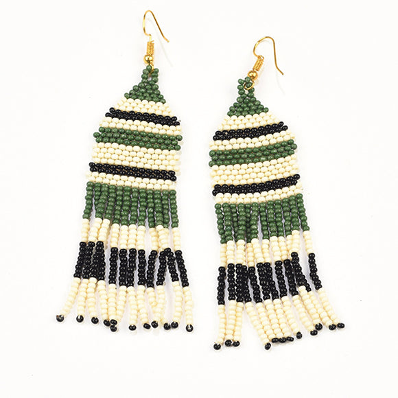 Green White and Black Stripe Seed Bead Fringe Earrings