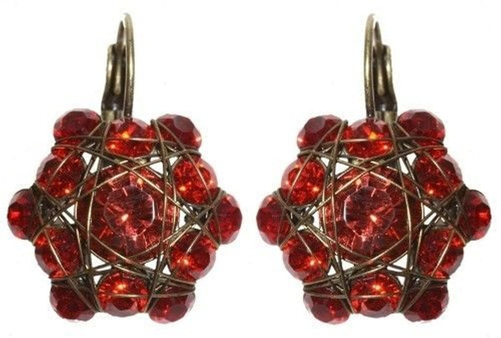 Bended Lights Coralline/Red Eurowire Earrings