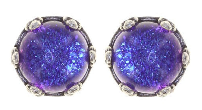 Twisted Flower Round Stud Earring, Purple Antique Silver