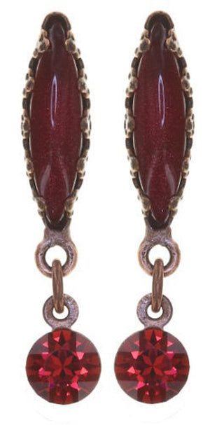 Twisted Flower Stud Dangling Earring, Ruby Antique Copper