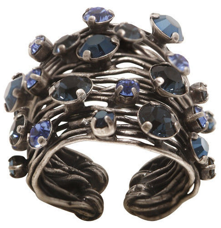 Cages Blue Wide Ring