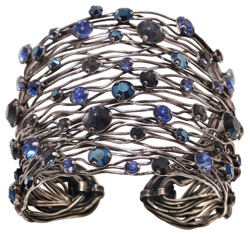 Cages Blue Wide Bracelet Cuff