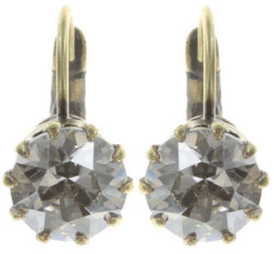 Black Jack White Crystal Silver Shade Earrings