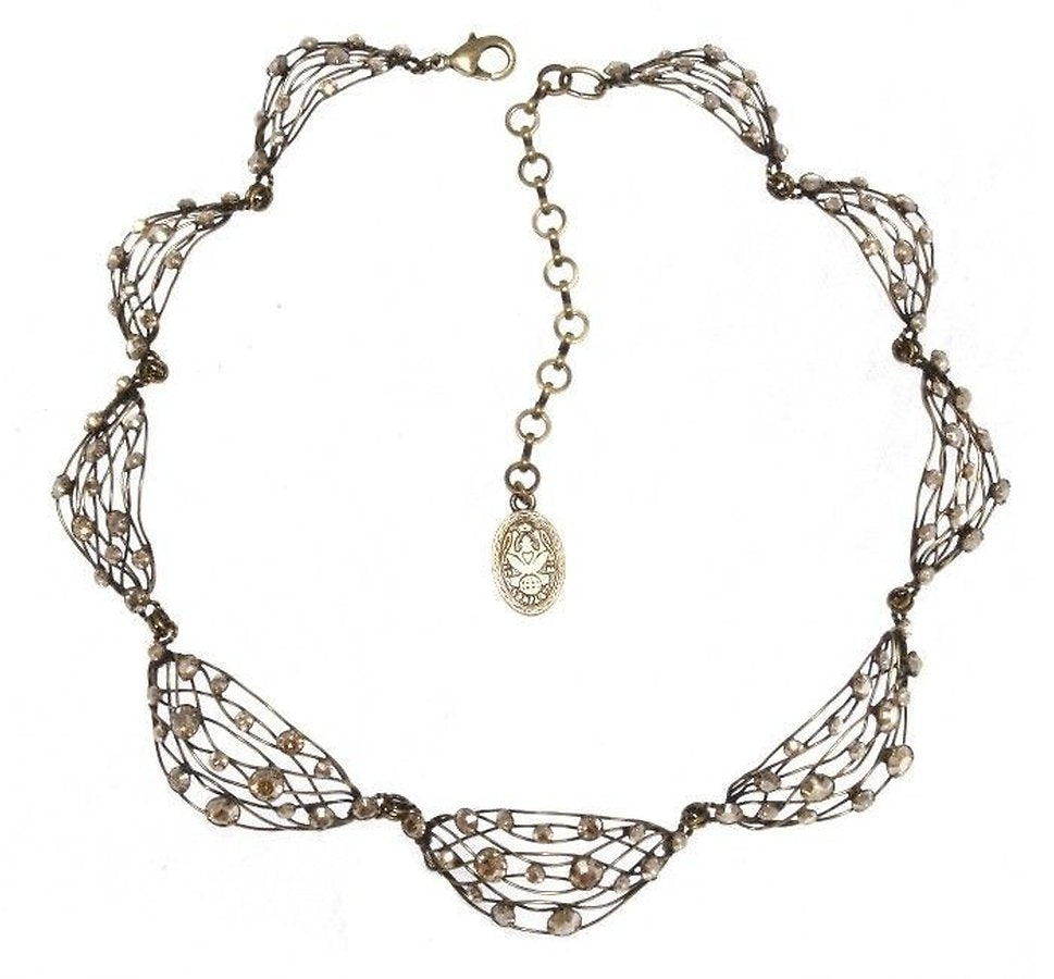 Cages Beige Crystal Golden Shadow Necklace