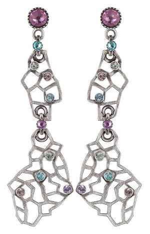 Textures Under the Sea Hyper Pastels Multi Crystal Stud Dangling Earring