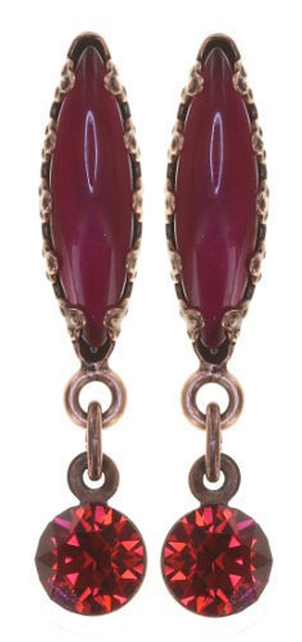 Twisted Flower Stud Dangling Earring, Raspberry Antique Copper