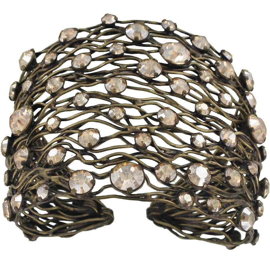 Cages Beige Crystal Golden Shadow Wide Bracelet Cuff