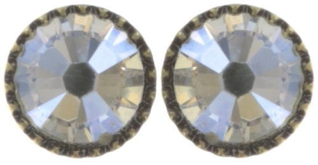 Black Jack White Crystal Moonlight Flat Post Earrings