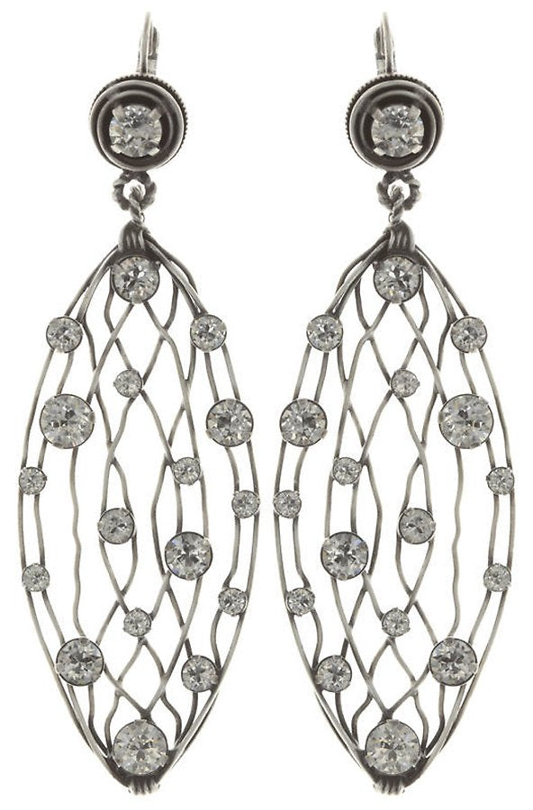 Cages White Dangling Earrings