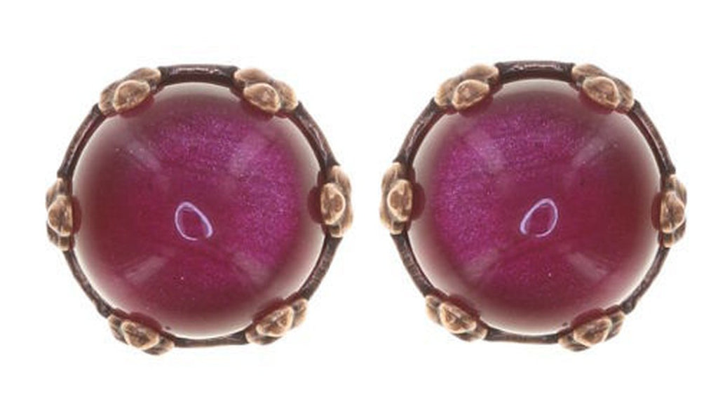 Twisted Flower Round Stud Earring, Raspberry Antique Copper
