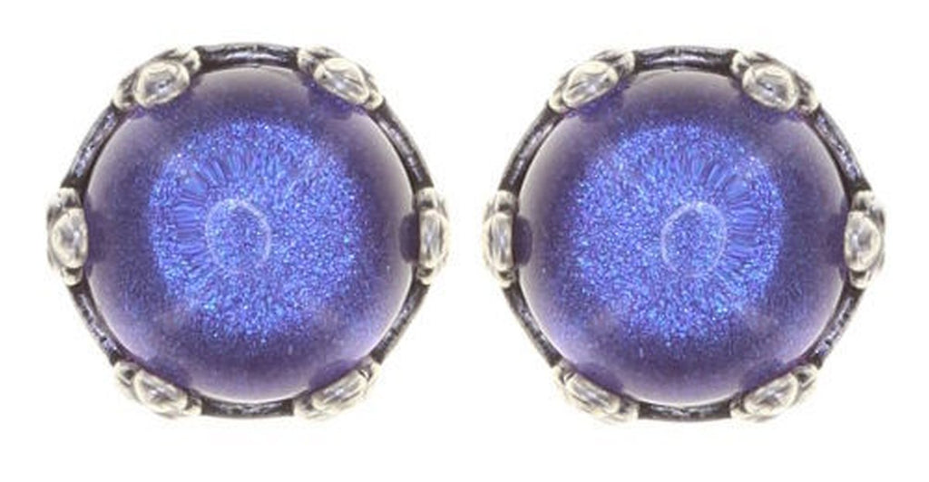 Twisted Flower Round Stud Earring, Lilac Antique Silver