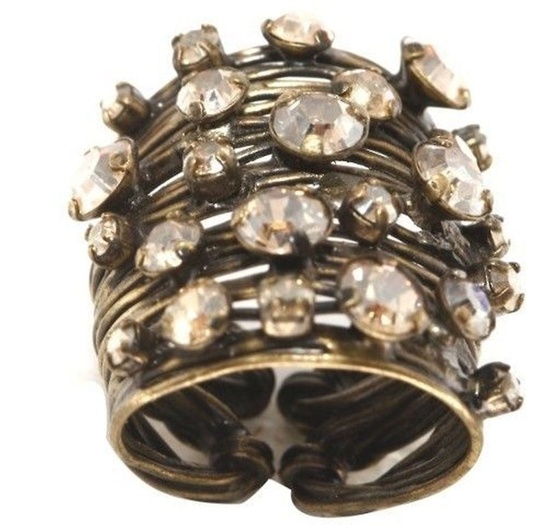 Cages Beige Crystal Golden Shadow Wide Ring