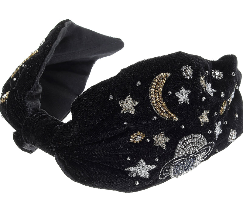 Consellation Black Velvet Headband