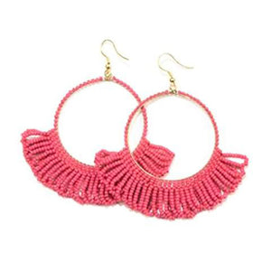 Seed Bead Earring Hoop with Fringe, Hot Pink