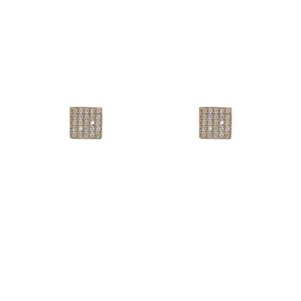 Gold Artís Pavé Crystal Square Stud Earrings
